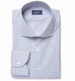 Rye 120s Lavender and Green Multi Check Dress Shirt