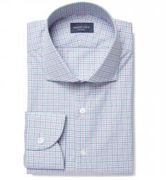 Rye 120s Lavender and Green Multi Check Dress Shirt