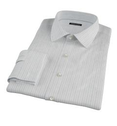 Light Blue Grey Dobby Stripe Custom Dress Shirt