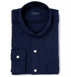 Japanese Navy Donegal Flannel Men's Dress Shirt