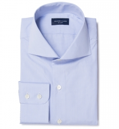 Thomas Mason 120s Blue Mini Grid Dress Shirt