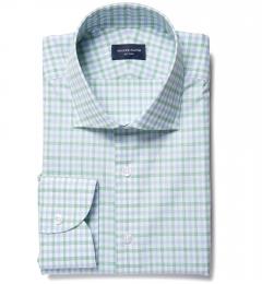 Thomas Mason Green Multi Check Fitted Dress Shirt