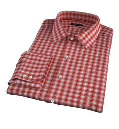 Terra Cotta 120s Check Fitted Shirt