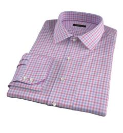 Thomas Mason Red and Lavender Multi Check Custom Dress Shirt