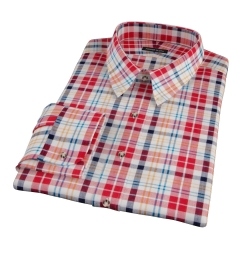 Red Orange Blue Madras Fitted Shirt