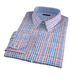 Canclini Orange Blue Plaid Linen Men's Dress Shirt