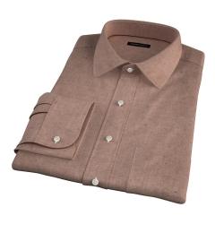 Canclini Camel Mini Herringbone Flannel Fitted Dress Shirt
