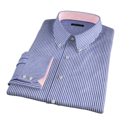 Albini Marine Stripe Seersucker Fitted Shirt