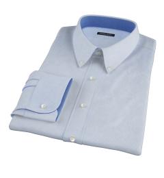 Morris Light Blue Wrinkle-Resistant Houndstooth Custom Dress Shirt