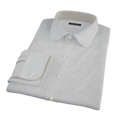 Coffee & Blue Check Fitted Shirt