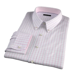 Lazio Coral 100s Border Grid Custom Dress Shirt