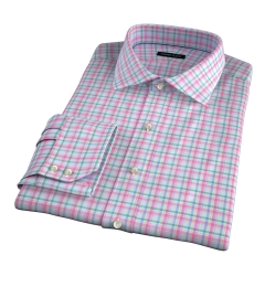 Thomas Mason Pink Spring Plaid Custom Made Shirt