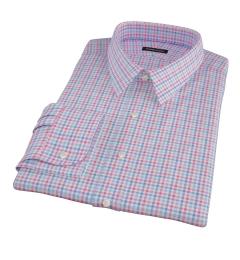 Thomas Mason Hibiscus and Blue Check Men's Dress Shirt