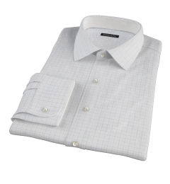 Mercer Blue Twill Check Custom Dress Shirt