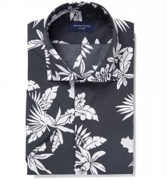 Positano Black Floral Print Tailor Made Shirt