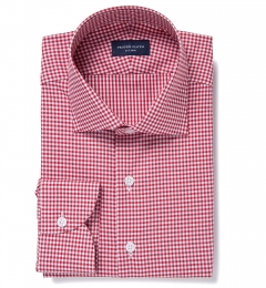Charles Red Small Check Men's Dress Shirt