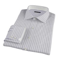Canclini Grey 120s Gingham Men's Dress Shirt