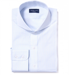 Mercer Light Blue Medium Grid Fitted Dress Shirt