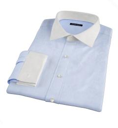 Light Blue Cotton Linen Oxford Custom Dress Shirt