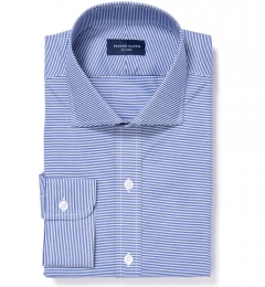 Carmine Blue Horizontal Stripe Custom Dress Shirt