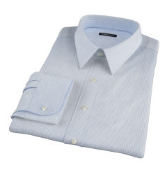 Blue Cotton Linen Stripe Men's Dress Shirt