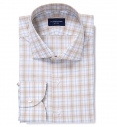 Siena Beige and Blue Multi Check Men's Dress Shirt