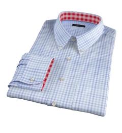 Adams Blue Multi Check Fitted Dress Shirt