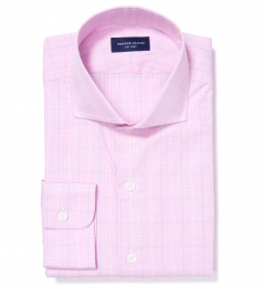 Carmine Pink Blue Prince of Wales Check Custom Made Shirt