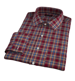 Burgundy and Amber Plaid Flannel Custom Dress Shirt