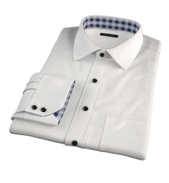 Navy on White Printed Pindot Custom Made Shirt