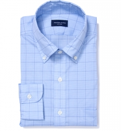 Thomas Mason Blue and Blue Prince of Wales Check Men's Dress Shirt