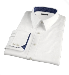 White Wrinkle-Resistant Rich Herringbone Fitted Shirt