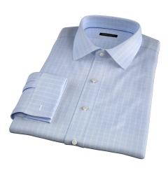 Thomas Mason Goldline Light Blue Box Check Tailor Made Shirt