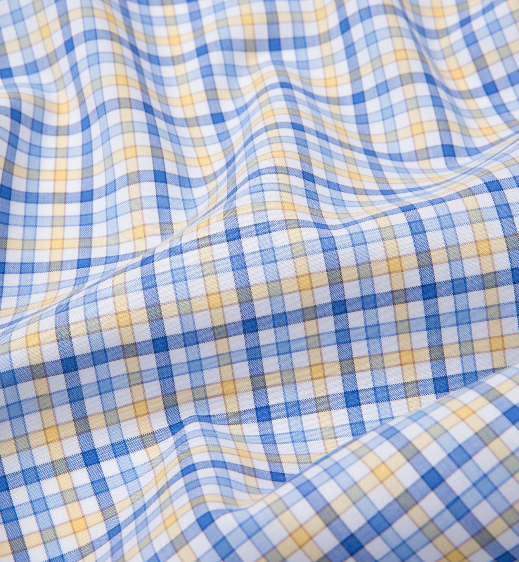 Thomas mason yellow blue check shirts by proper cloth for Blue and yellow dress shirt