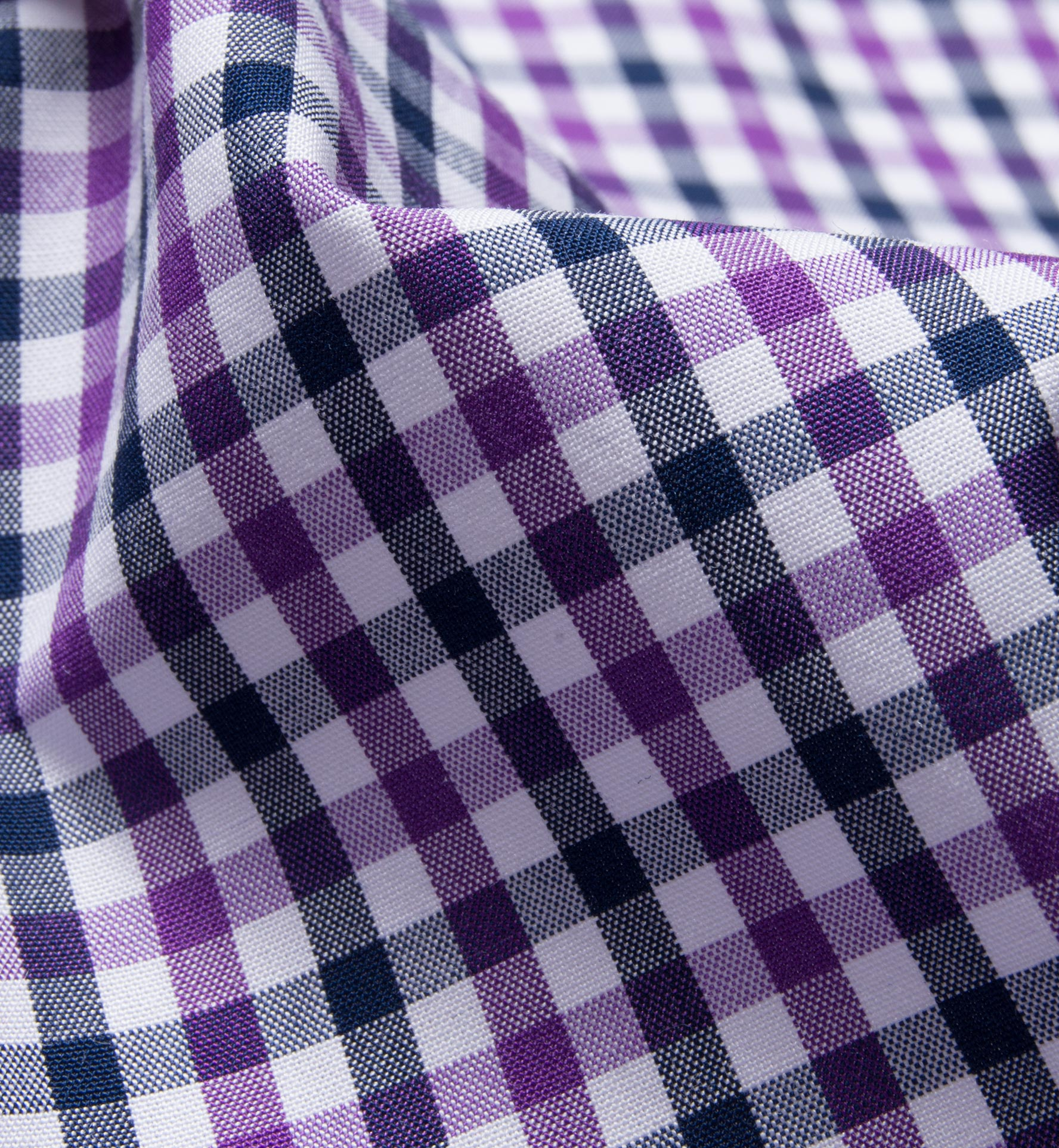 Purple And Navy Gingham Shirts By Proper Cloth