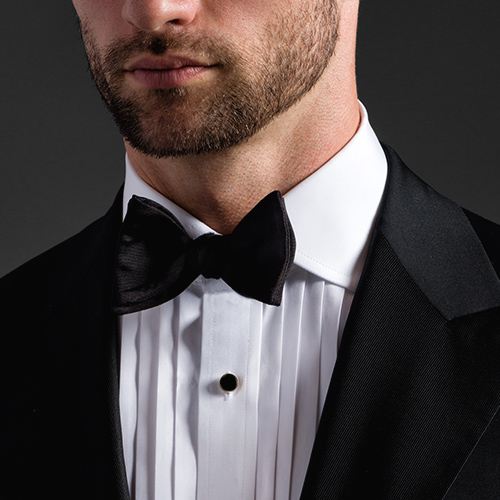 Pleated Front Tuxedo Dress Shirt Detail