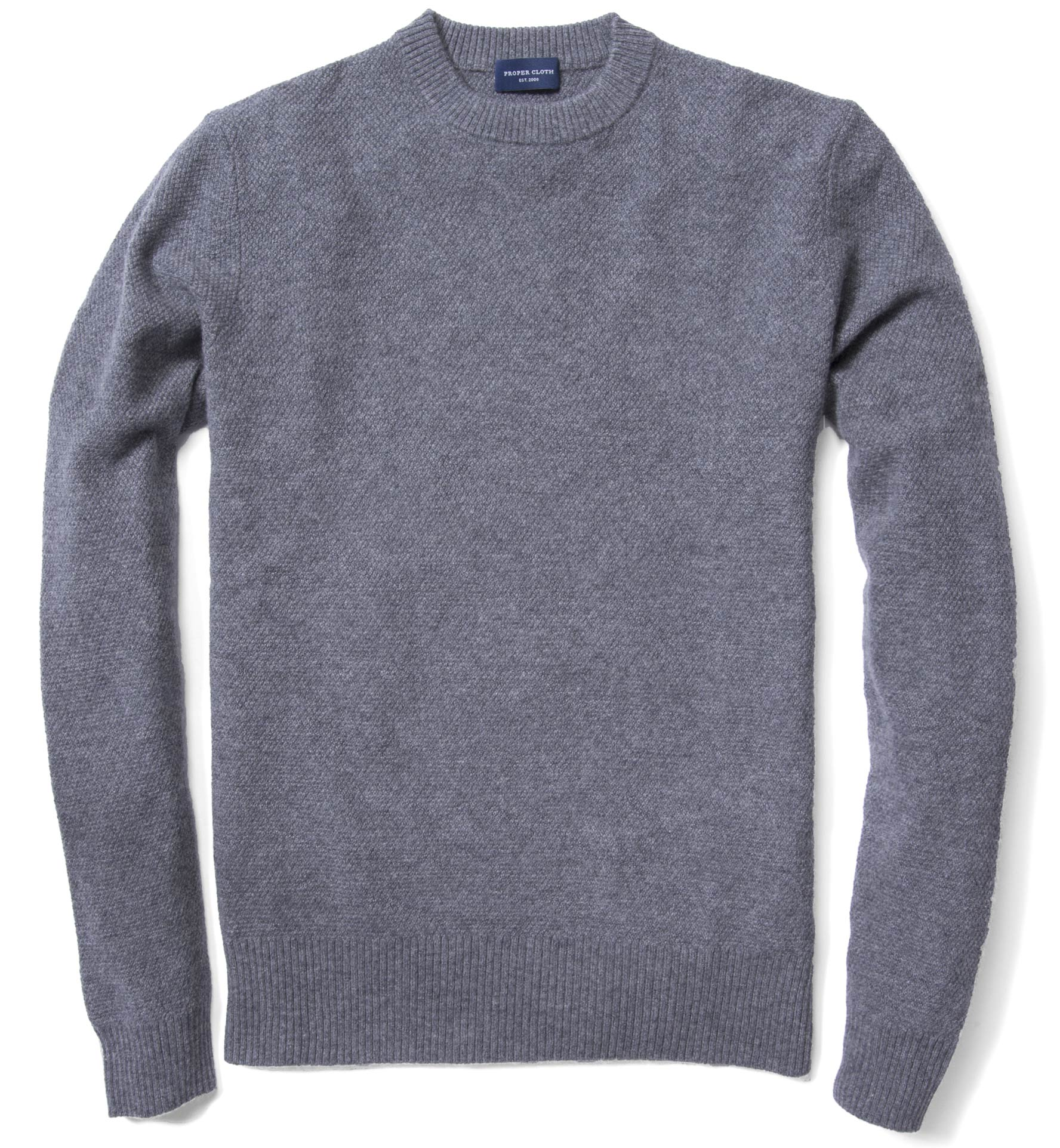 Grey Cobble Stitch Cashmere Sweater by Proper Cloth