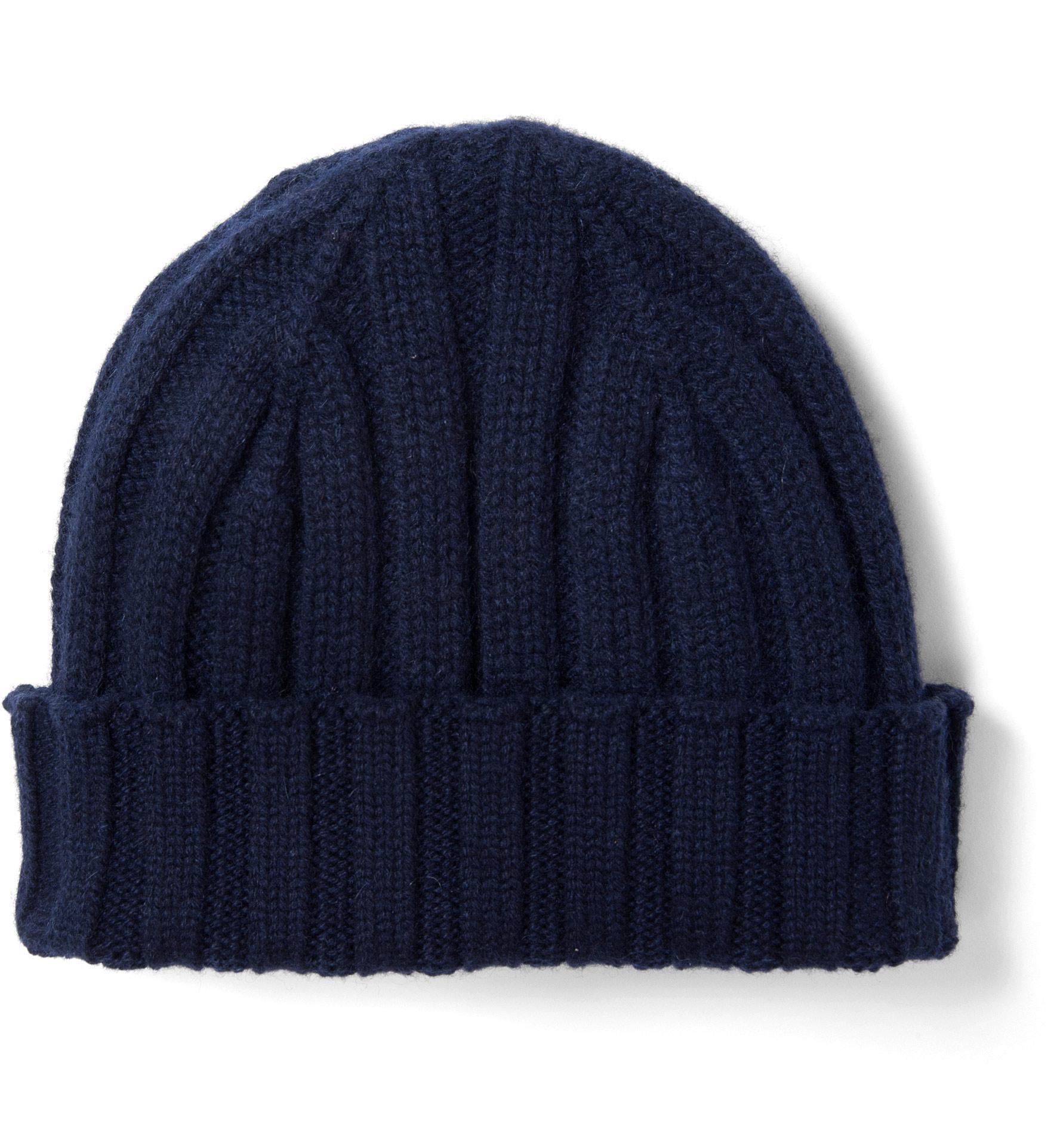 Knitting Pattern Cashmere Hat : Navy Cashmere Knit Hat by Proper Cloth