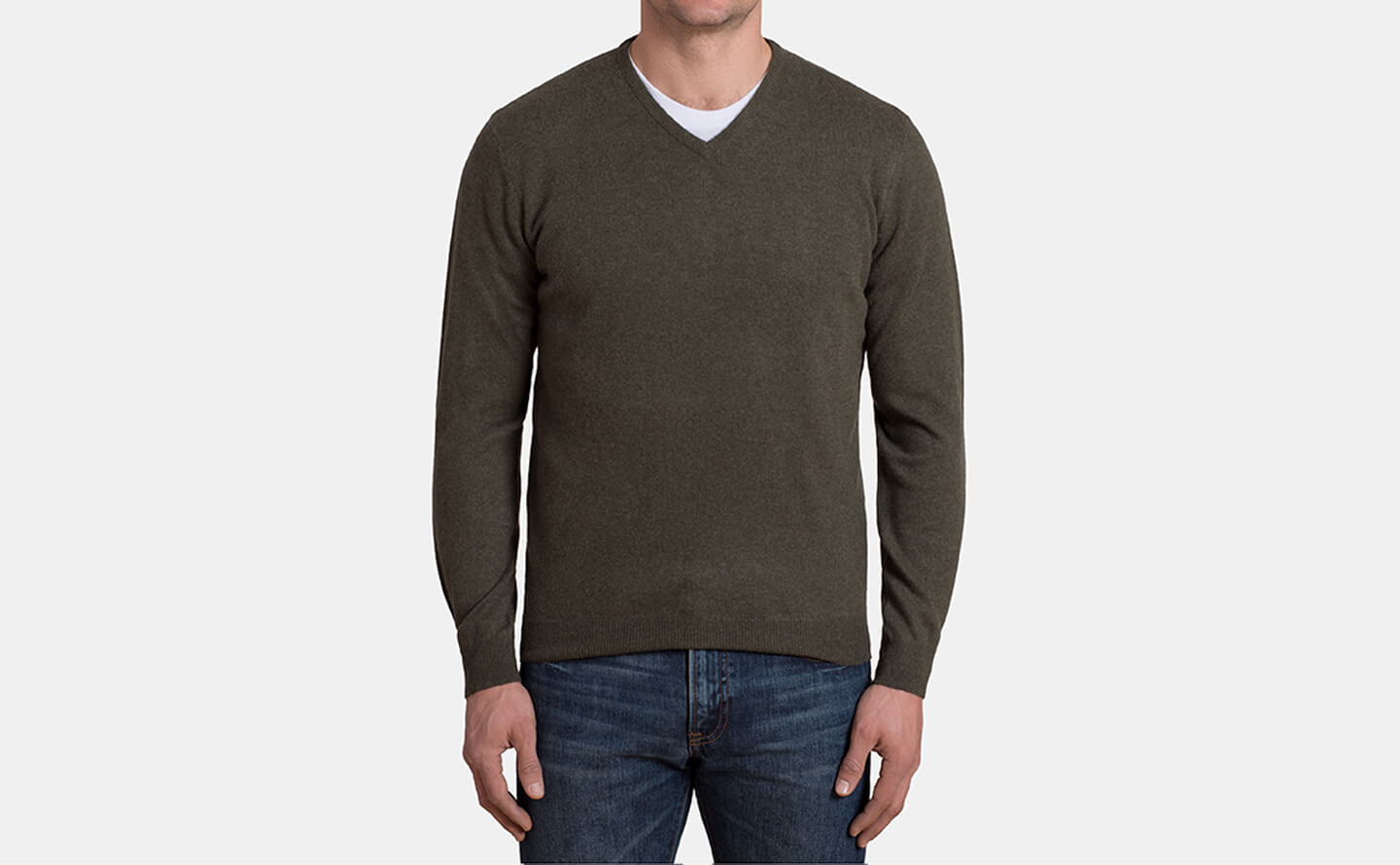 Pine Cashmere V-Neck Sweater by Proper Cloth