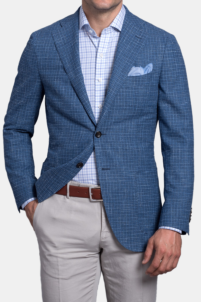Ocean Blue Textured Micro Check Hudson Jacket
