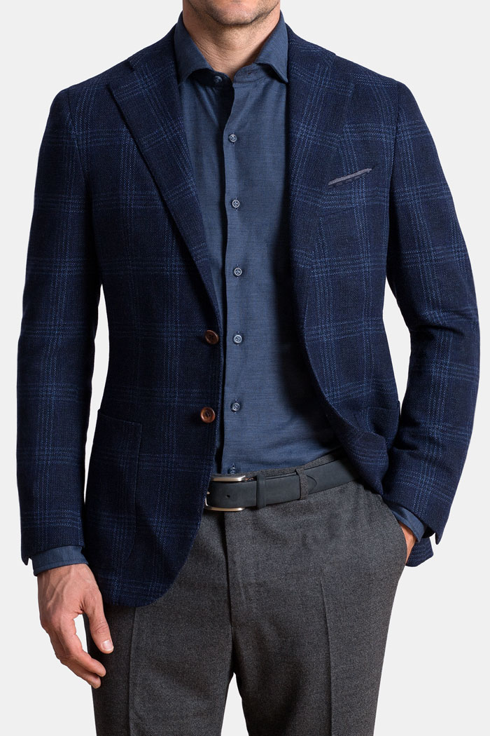 Navy and Blue Check Textured Wool Hudson Jacket