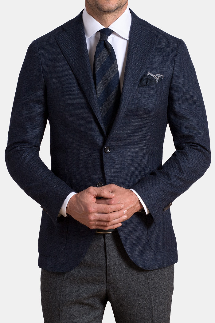 Navy Hopsack Wool and Cashmere Flannel Hudson Jacket
