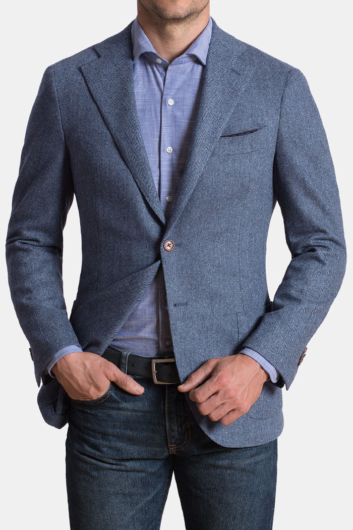 Slate Herringbone Wool and Cashmere Hudson Jacket