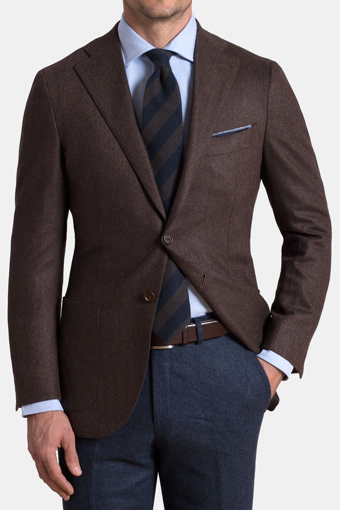 Walnut Herringbone Wool and Cashmere Hudson Jacket