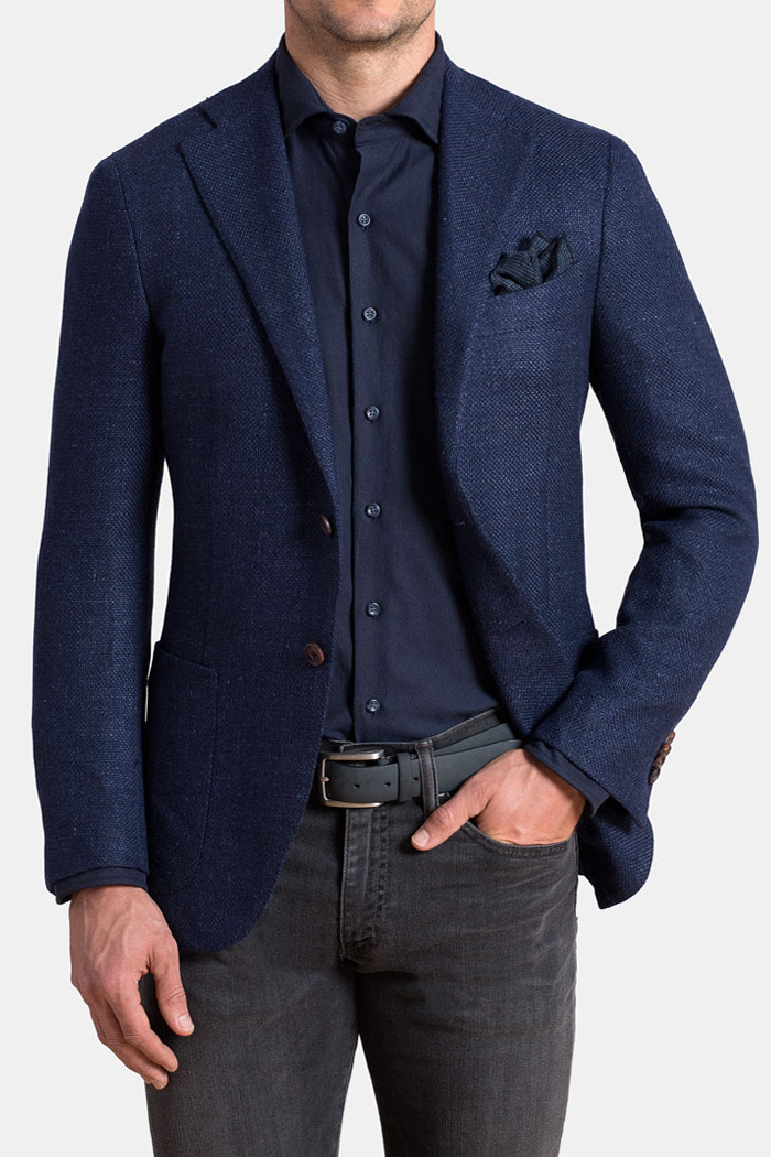 Navy Basketweave Wool Flannel Hudson Jacket