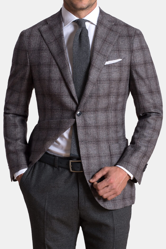 Grey Plaid Wool and Cashmere Flannel Hudson Jacket