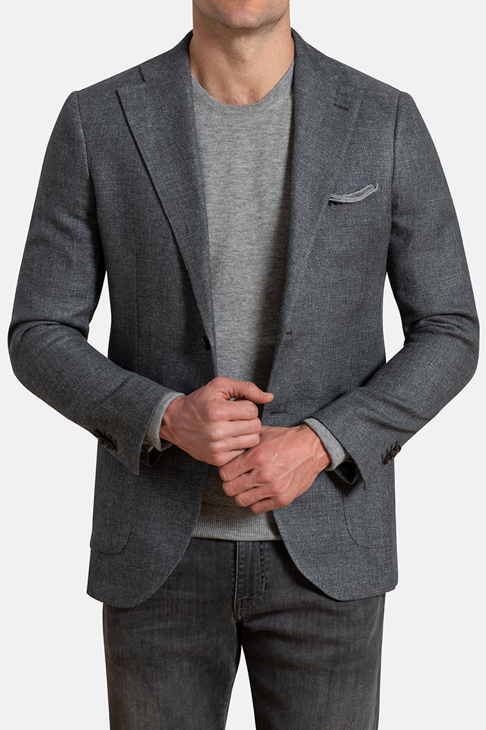 Bedford Grey Linen and Wool Hopsack Jacket