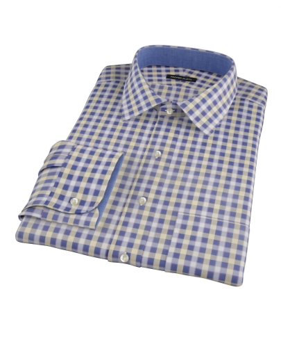 Blue and yellow gingham oxford fitted dress shirt by for Blue and yellow dress shirt