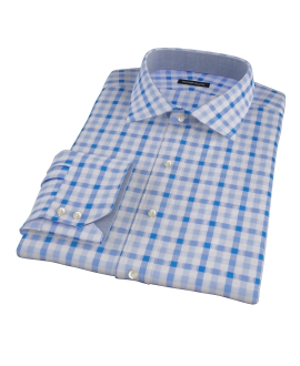 Light Blue and Blue Gingham Custom Dress Shirt