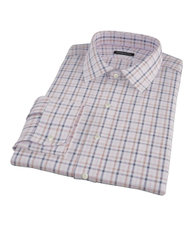 Cortina Pink Navy Brown Check Custom Dress Shirt